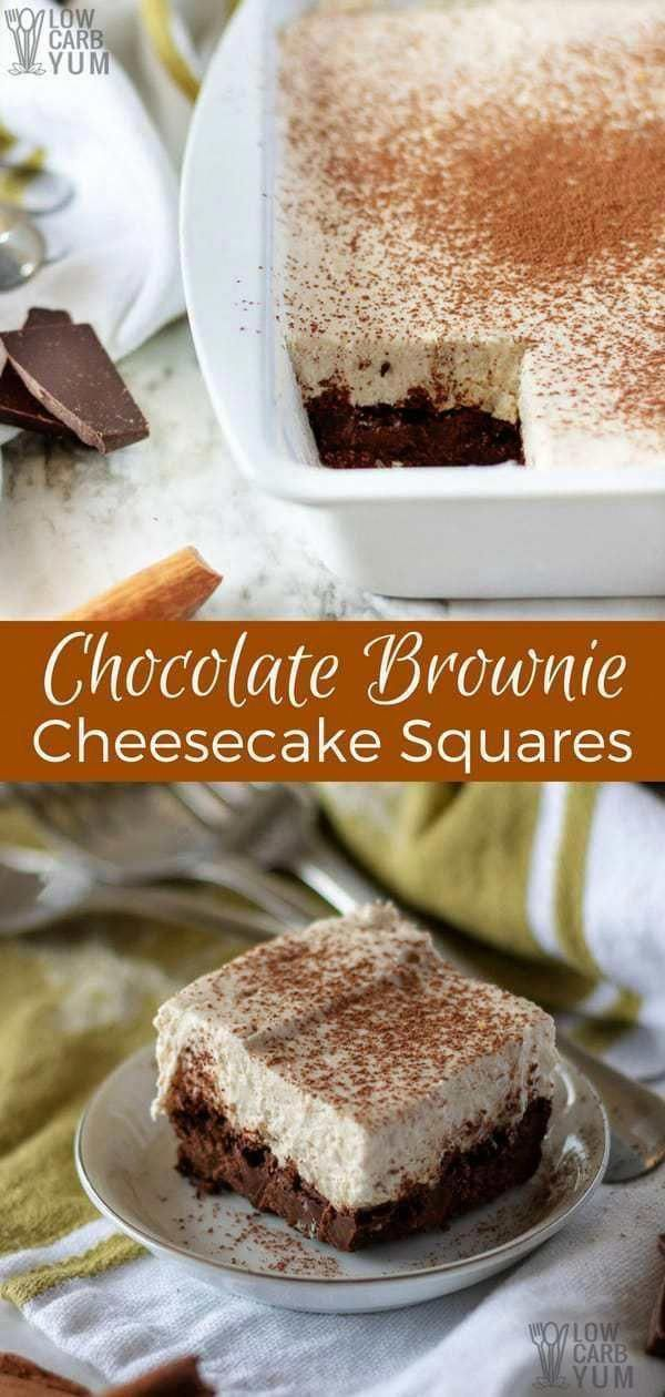 A treat that combines two delectable desserts: chocolate brownie cheesecake squa - Keto Brownies -