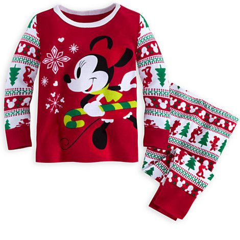 Minnie Mouse Holiday Pajamas Set For Baby She Ll Be Having Sweet Candy Cane Dreams While Snuggled Holiday Pajama Sets Baby Girl Pajamas Boys Christmas Pajamas
