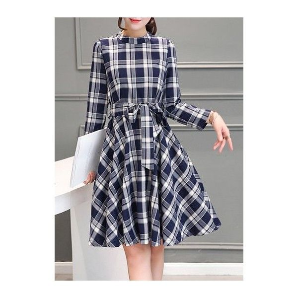 Rotita Tartan Plaid Print Belt Design Dress ($33) ❤ liked on Polyvore featuring dresses, navy blue, navy dress, tartan dress, navy blue long sleeve dress, plaid dress and knee-length dresses