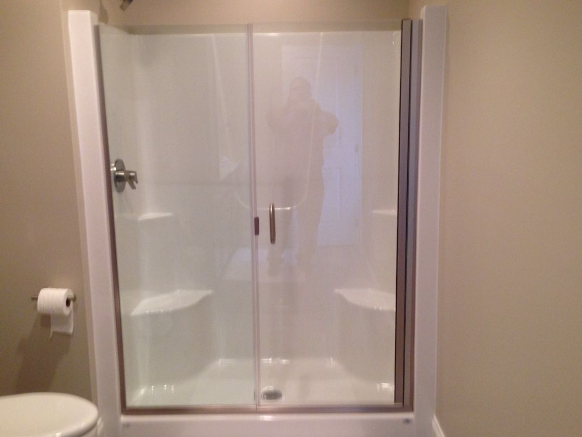 Frameless Shower Door And Panel On A Fiberglass Shower Stall Contact Tristateshowerdoors Yahoo