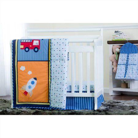 Dream On Me On The Go 4 Piece Reversible Portable Crib Bedding Set