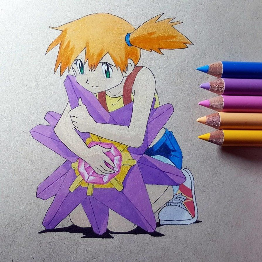 I Choose You Starmie Misty And Starmie From Pokemon Drawn With Holbein Colored Pencils Pokemon Misty Starm Pokemon Fan Art Pokemon Art First 150 Pokemon