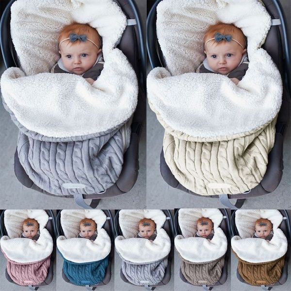 Newborn Baby Winter Wrap Swaddle Knitted Sleeping Bag Sleep Sack Stroller Wrap for Baby Color : Beige