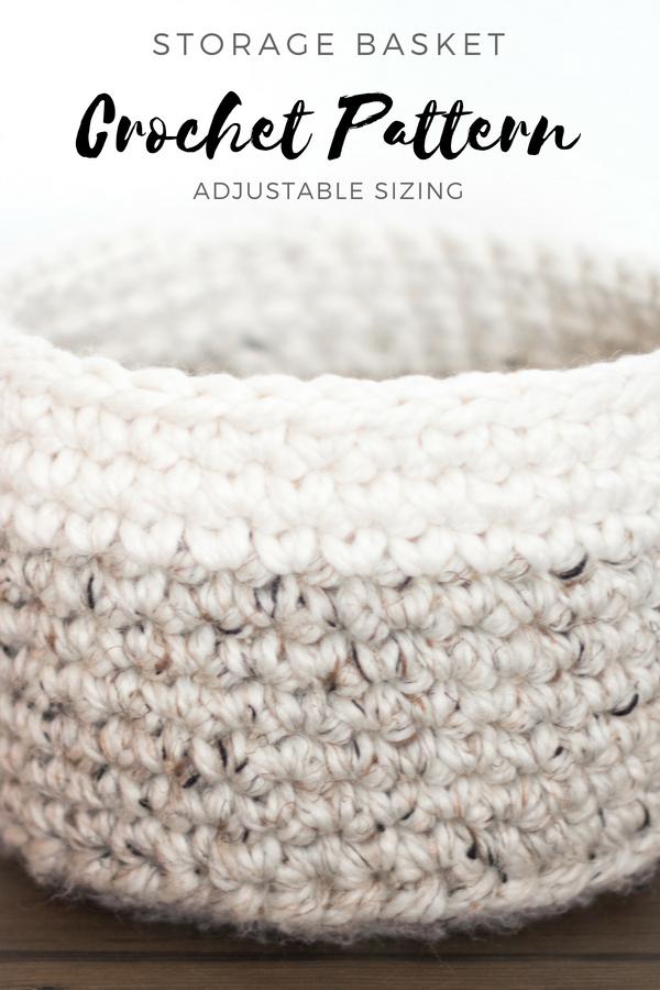 Crochet Pattern | Storage Basket, Two Tone, Easy Pattern, Nursery ...