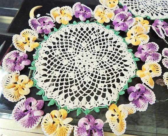 Crochet Pansy Doilies Doily Set of 4 Purple Yellow 1940s Vintage ...