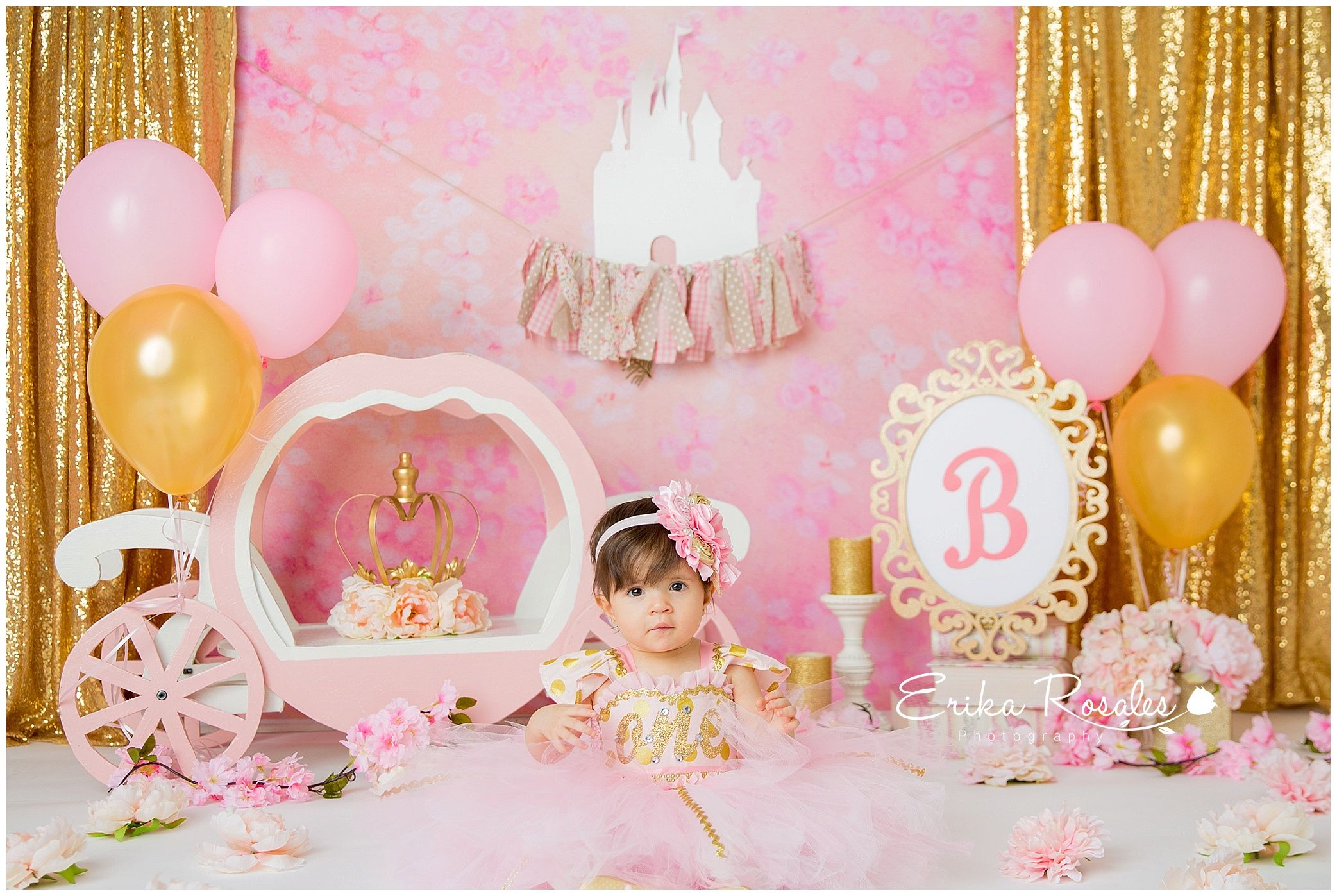 Princess First Birthday Theme Decor Carriage Pink And Gold Royal