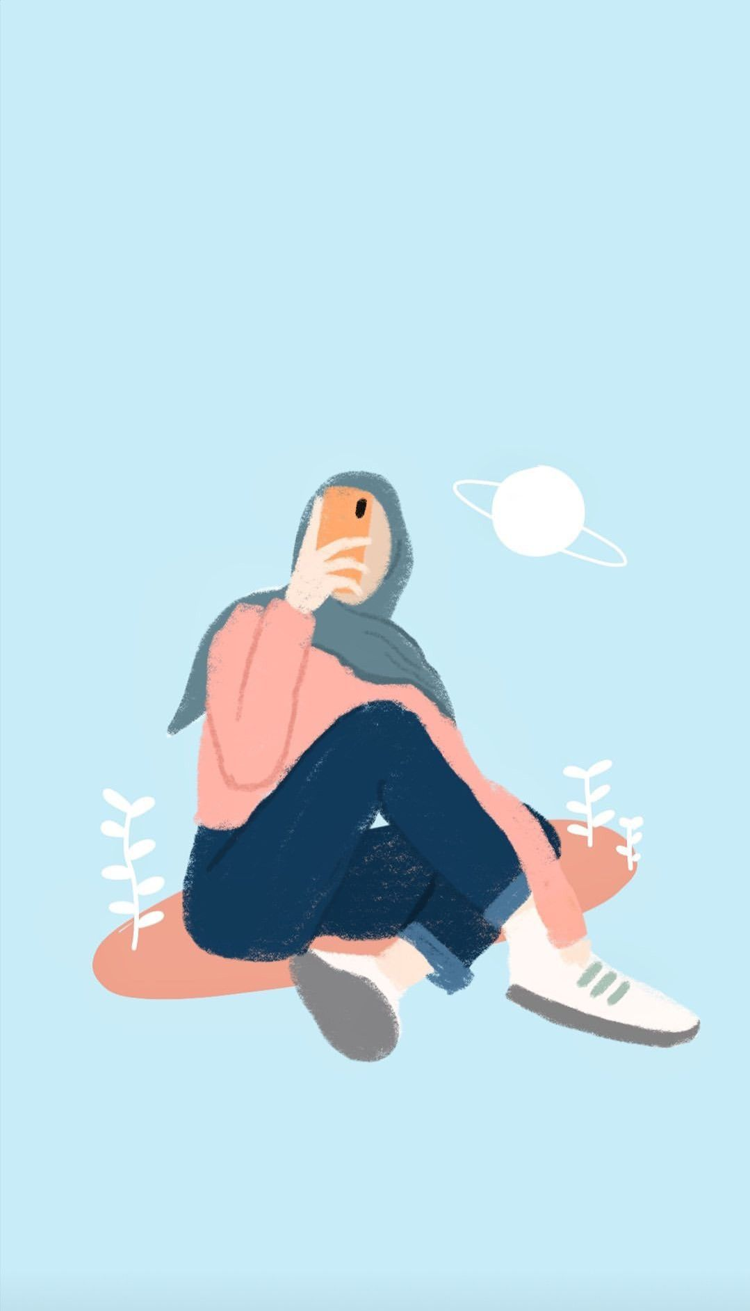 Aesthetic Iphone Anime Hijab Wallpaper