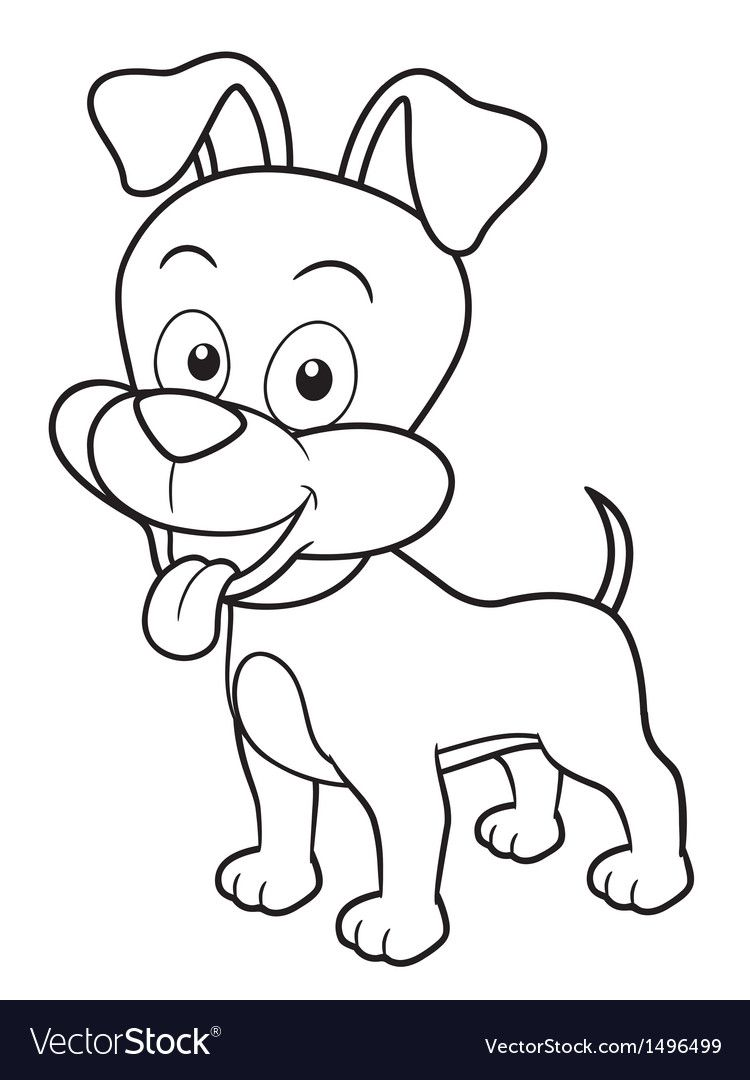 Vector Illustration Of Cartoon Dog Coloring Book Download A Free Preview Or High Quality Adobe Illustrator Ai Eps Dog Coloring Book Dog Outline Cartoon Dog