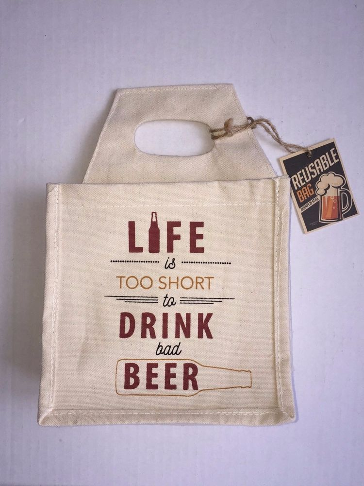 Life is Too Short to Drink Bad Beer - Canvas Beer Carrier Tote Holder NEW   Unbranded 37a68b6835f