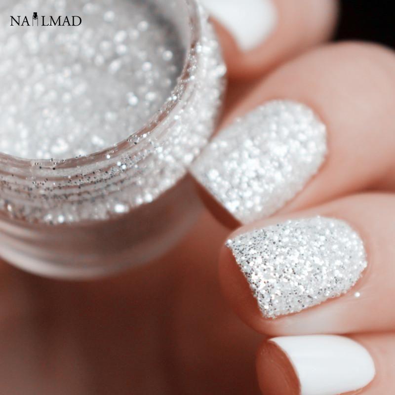 10ml Shiny Silver Nail Glitter Sequin White Powder Art