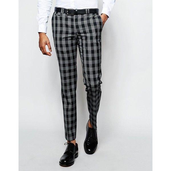 Black Checkered Suit Pants