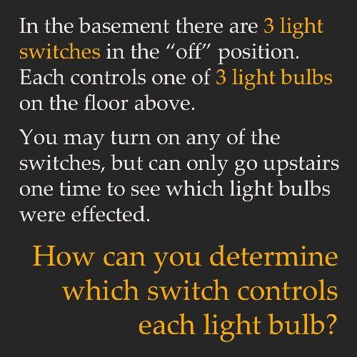 Physics Riddle Puzzles Pinterest Physics - 3 Light Switch Logic Problem