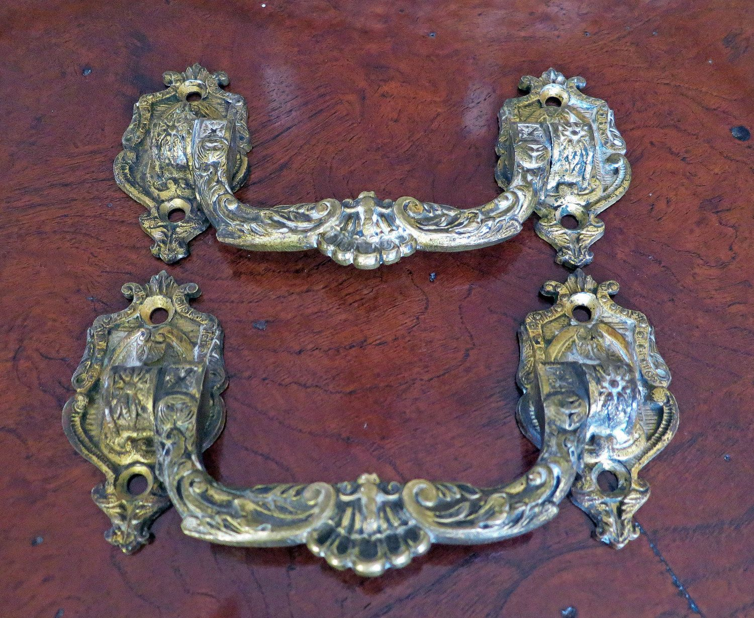 Antique French L Pinet Drawer Pulls Ornate Brass Metal Chest