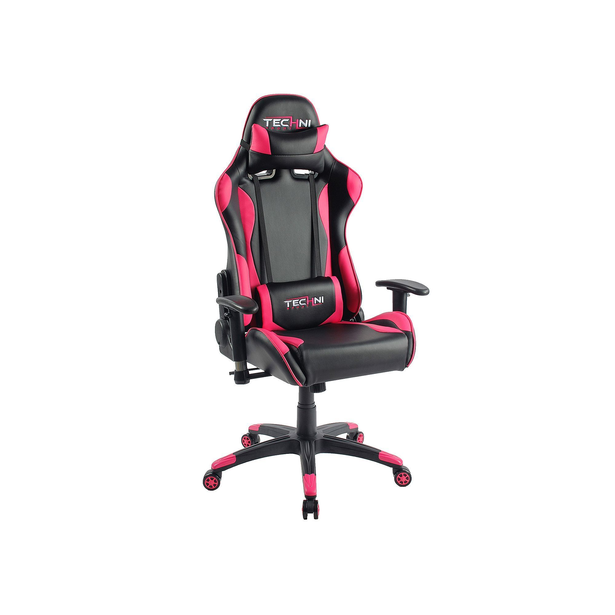 Techni Sport Ergonomic HighBack Gaming Desk Chair, Pink