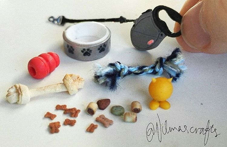 Anyone got a dog? ✌ #miniature#miniatures#dollhouse#dollhouseminiatures#miniaturefood#food#fakefood#dog#dogfood#puppy#doge#craft#käsityö#fimo#clay#polymerclay#nukkekoti#handmade#dogsupplies#bone#dogtreats#toys#koira#cute