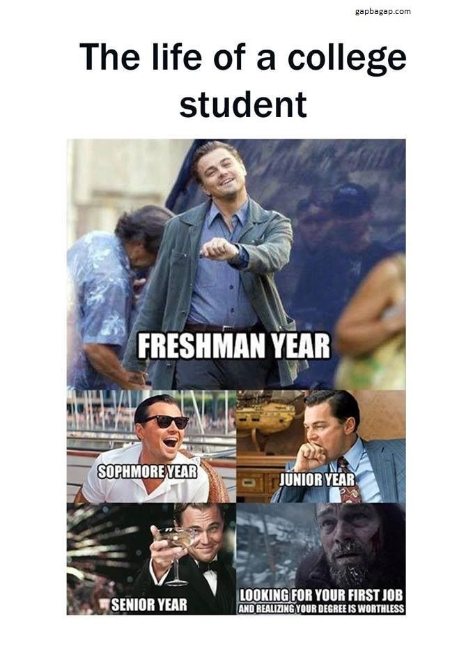 Funny Memes About The Life Of College Students Ft Leonardo Dicaprio Funny College Memes College Memes Funny Pictures