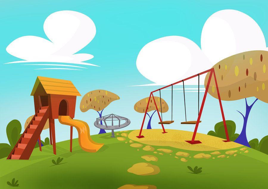 Play Ground Background Cartoon Park Cartoon Style Drawing Cartoon