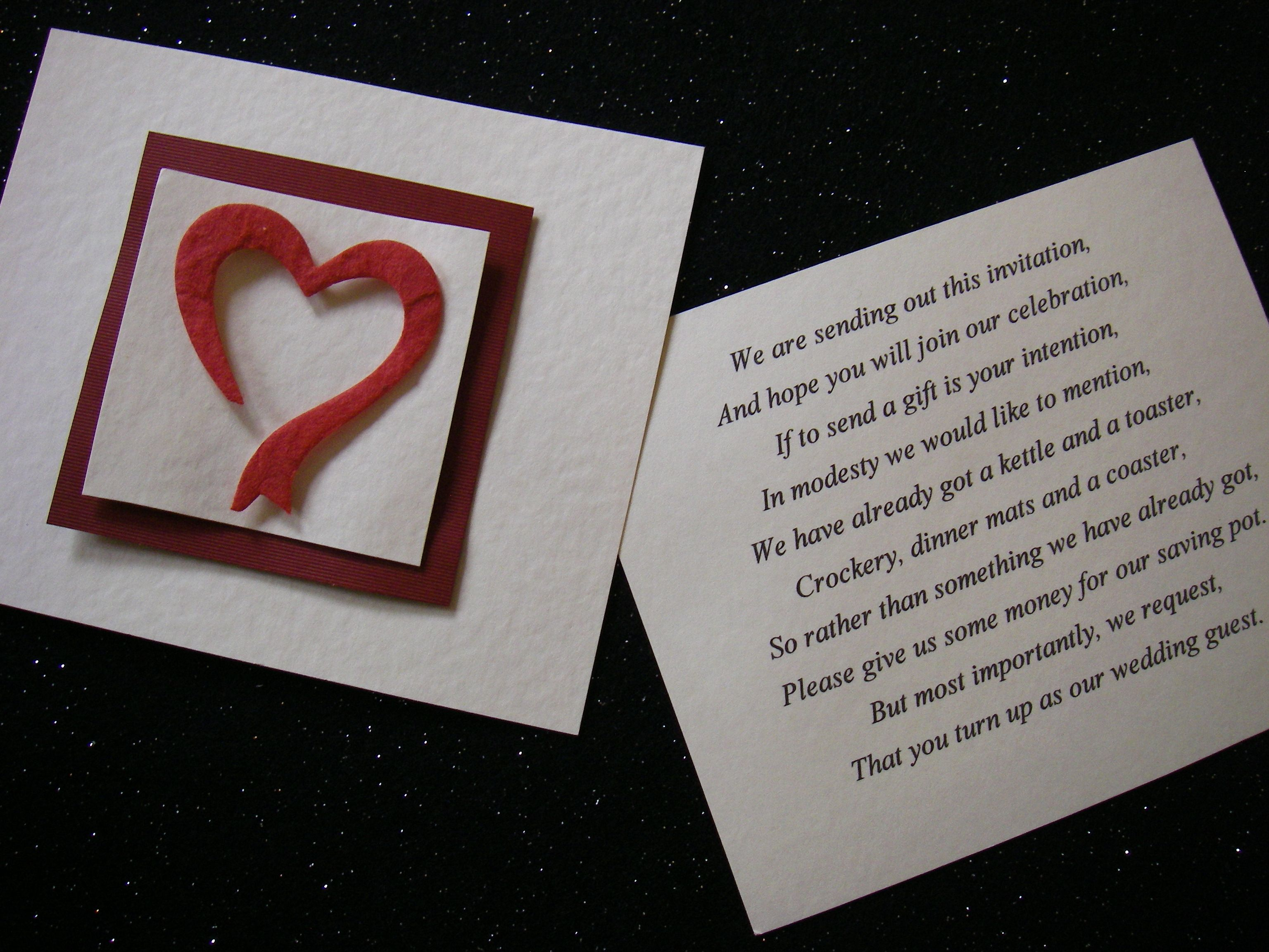 Asking For Gifts On Wedding Invitations: Wedding Gift Poems! Little Cards In Your Invites Politely
