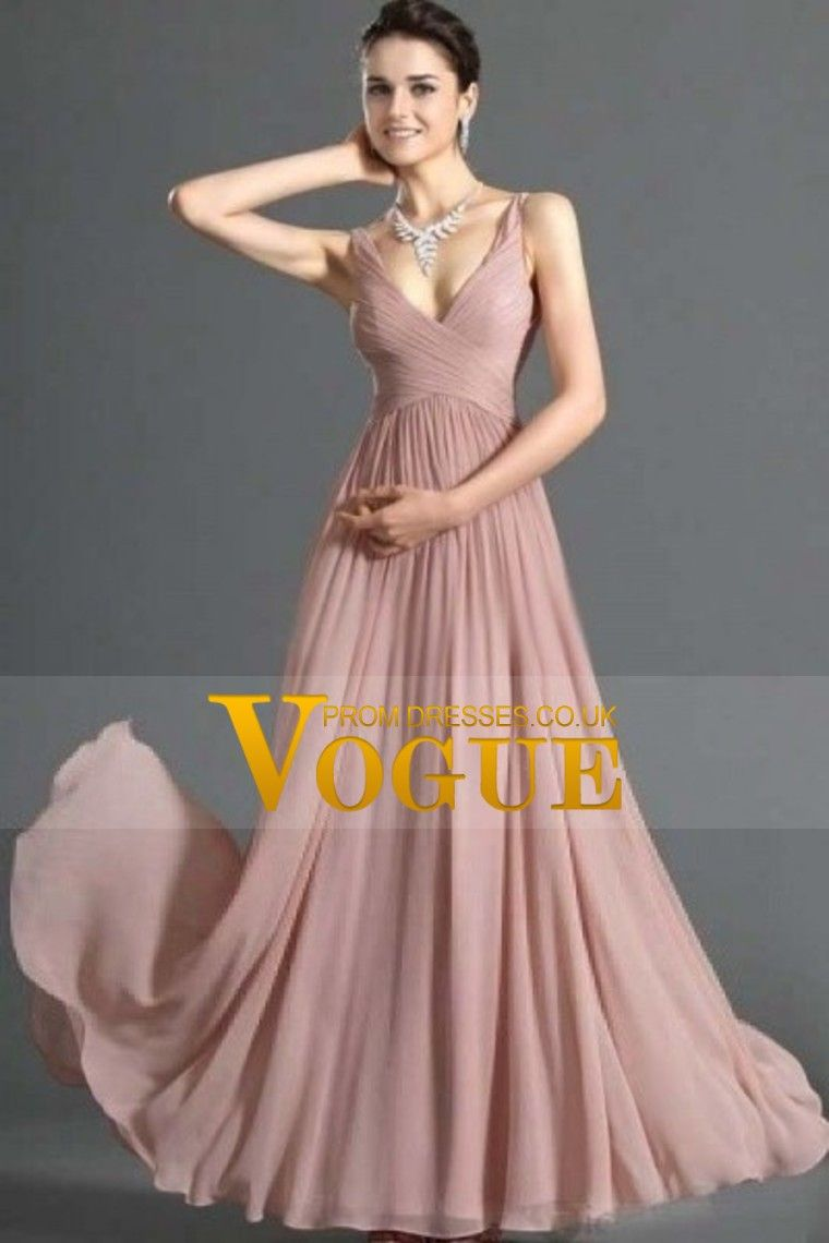 Simple prom dresses a line v neck floor length chiffon cheap under