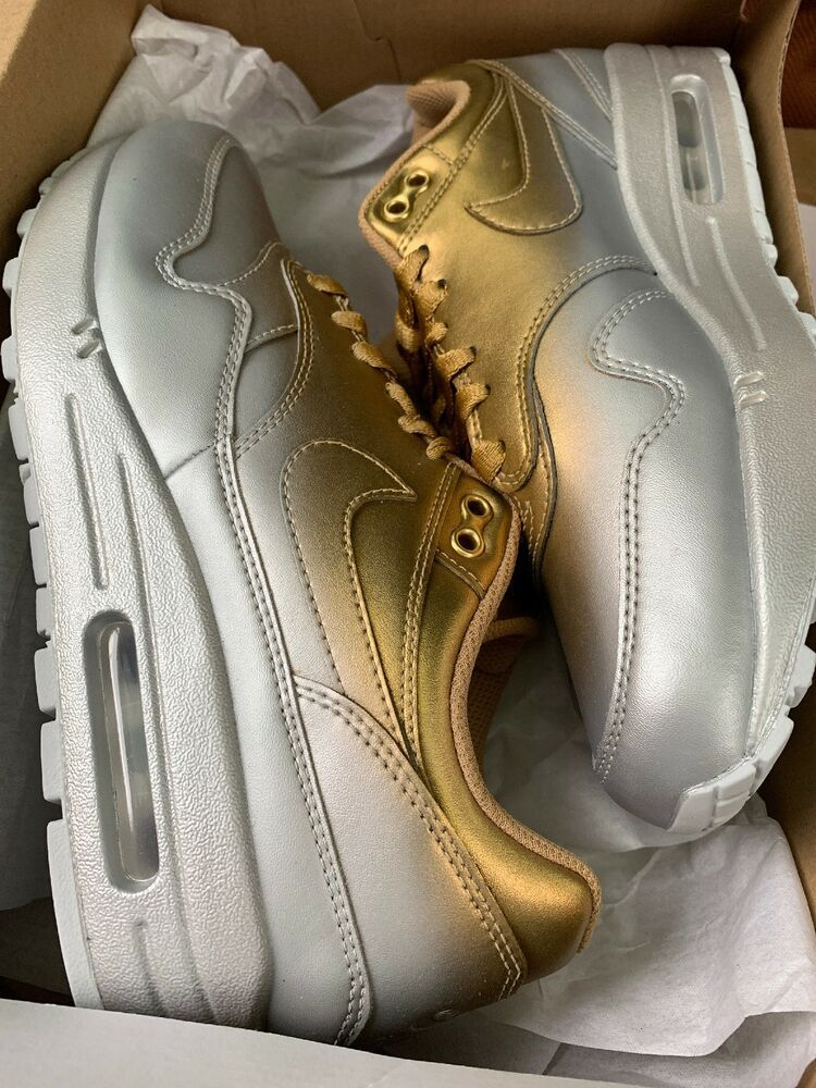 9fdd436fcc5f7 2019 Womens Nike Air Max 1 Lux Liquid Metal Silver Gold Sz. 8 917691 ...