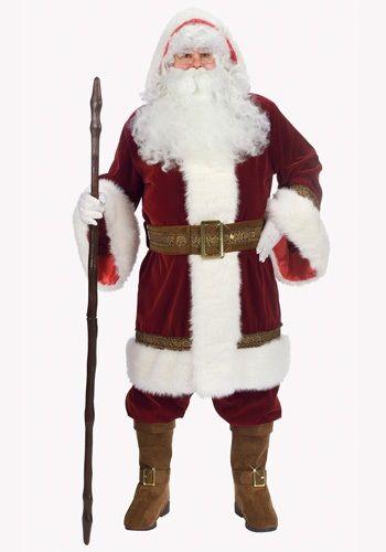 Premium Classic Santa Claus Christmas Fancy Dress Halloween Deluxe Adult Costume