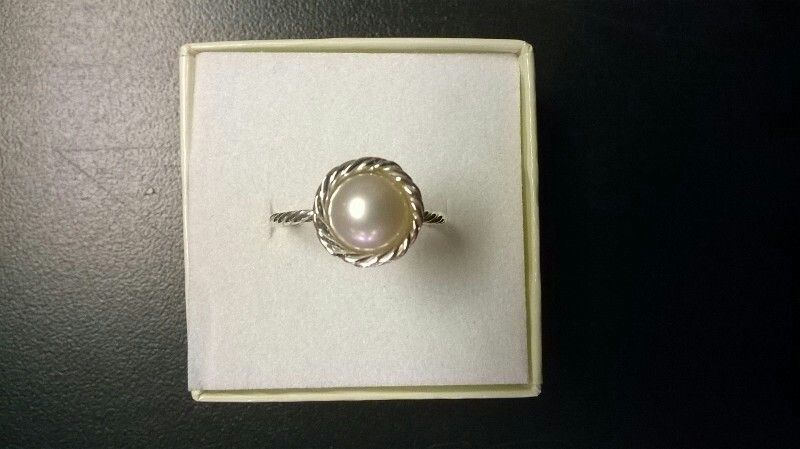 Sterling silver freshwater pearl ring fabricated by Jessica S. Palmer