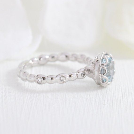Floral Aquamarine Engagement Ring in 14k White Gold Diamond Pebble Ring 7x7mm Round Cut Natural Aquamarine Ring (Bridal Set Available) #aquamarineengagementring