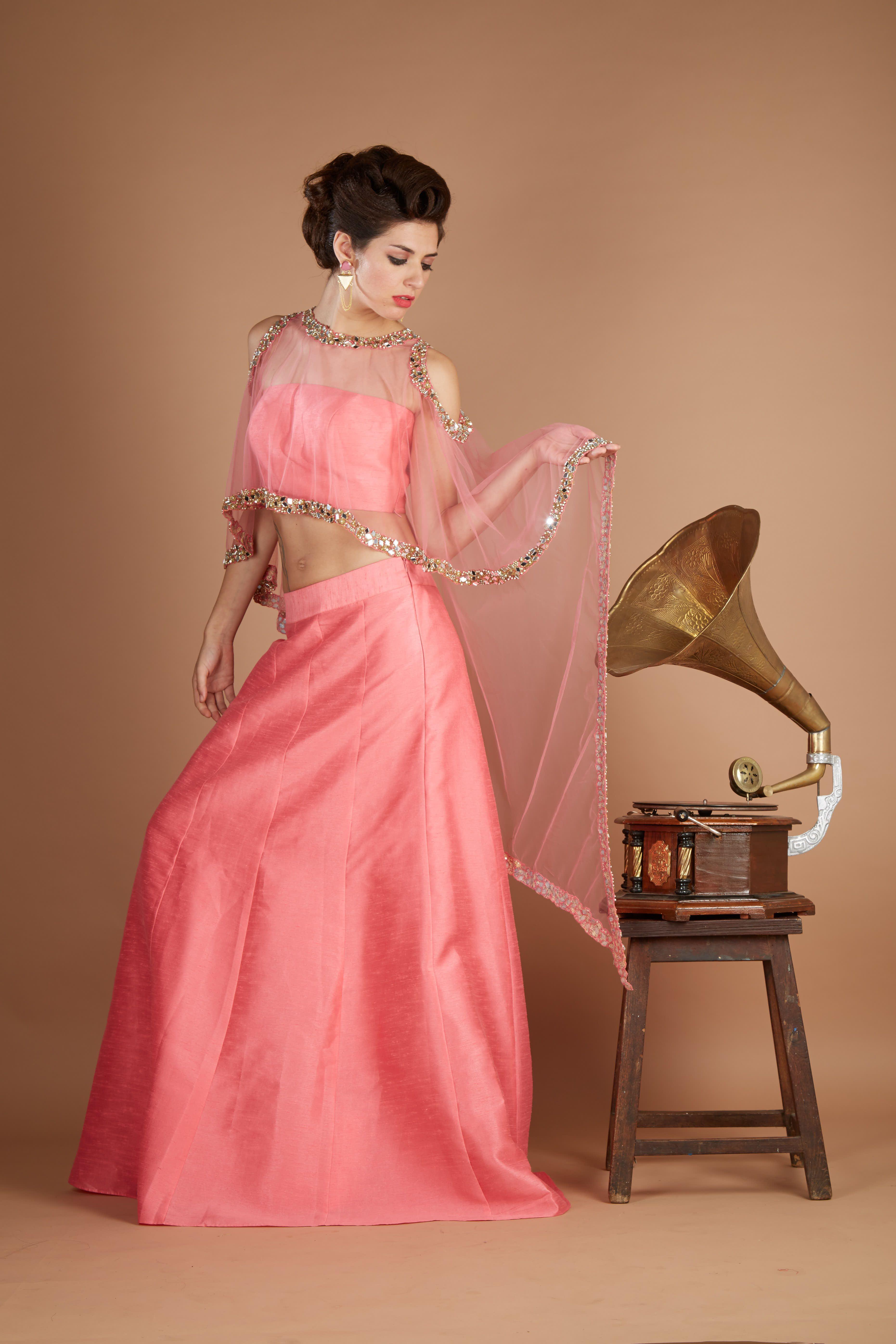 Fashion Designer Dresses - Coral Pink Cold Shoulder Cape Lehenga ...