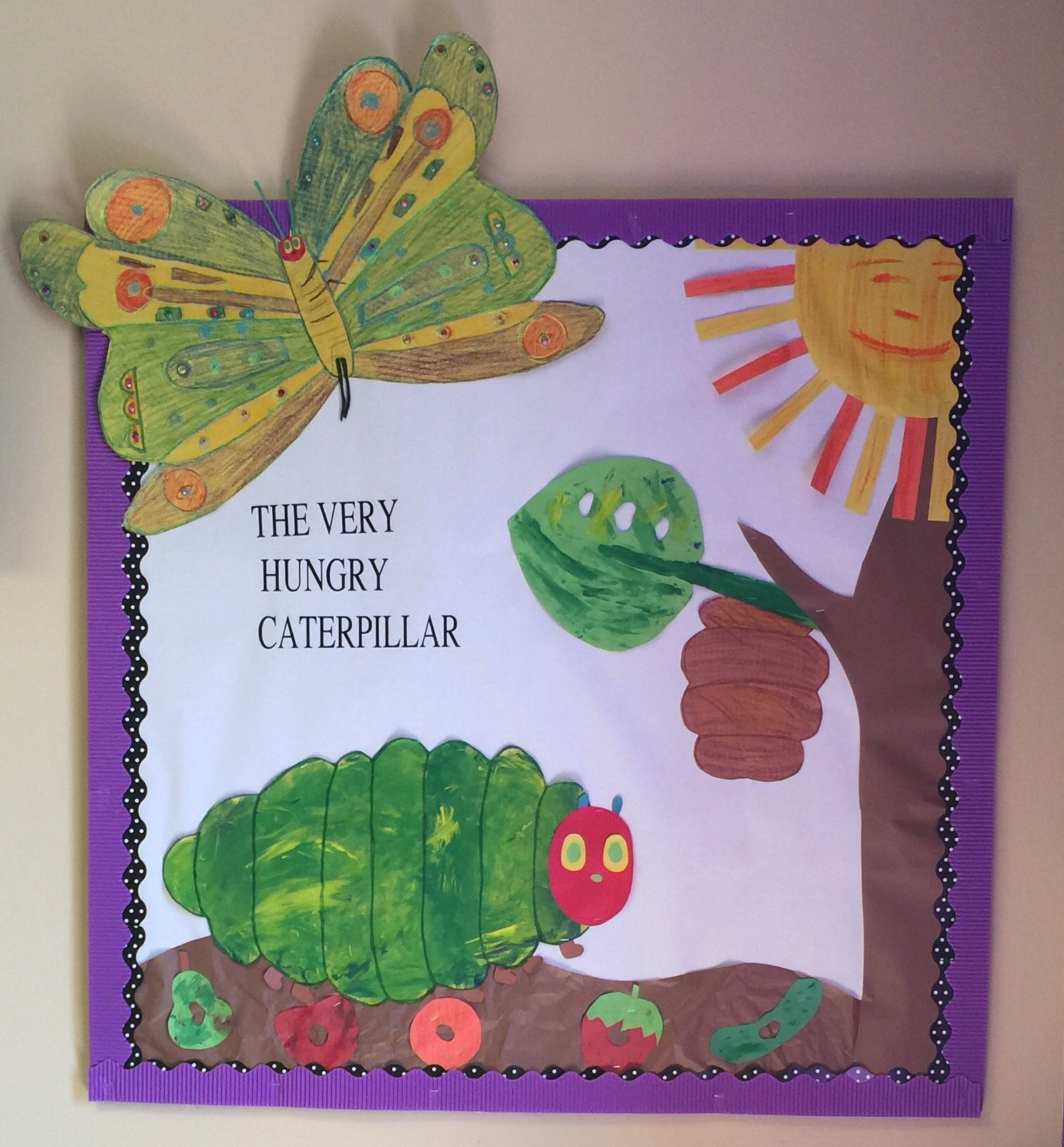 the very hungry caterpillar bulletin board idea i just used