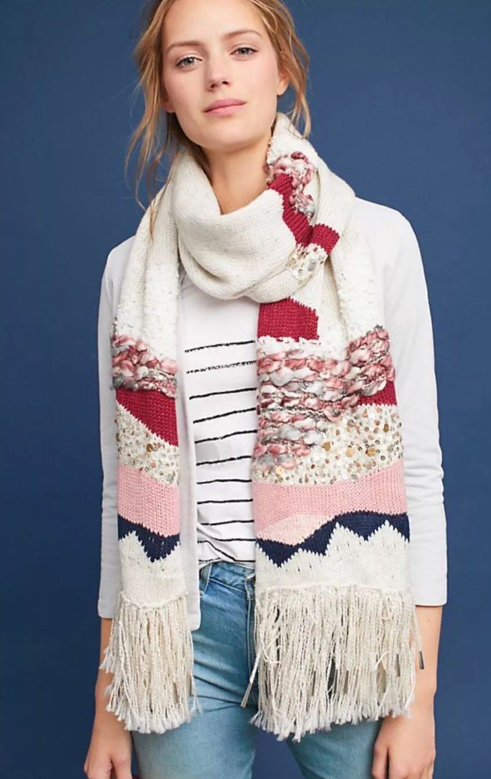 Anthropologie Sequined Blanket Scarf New Mercari The