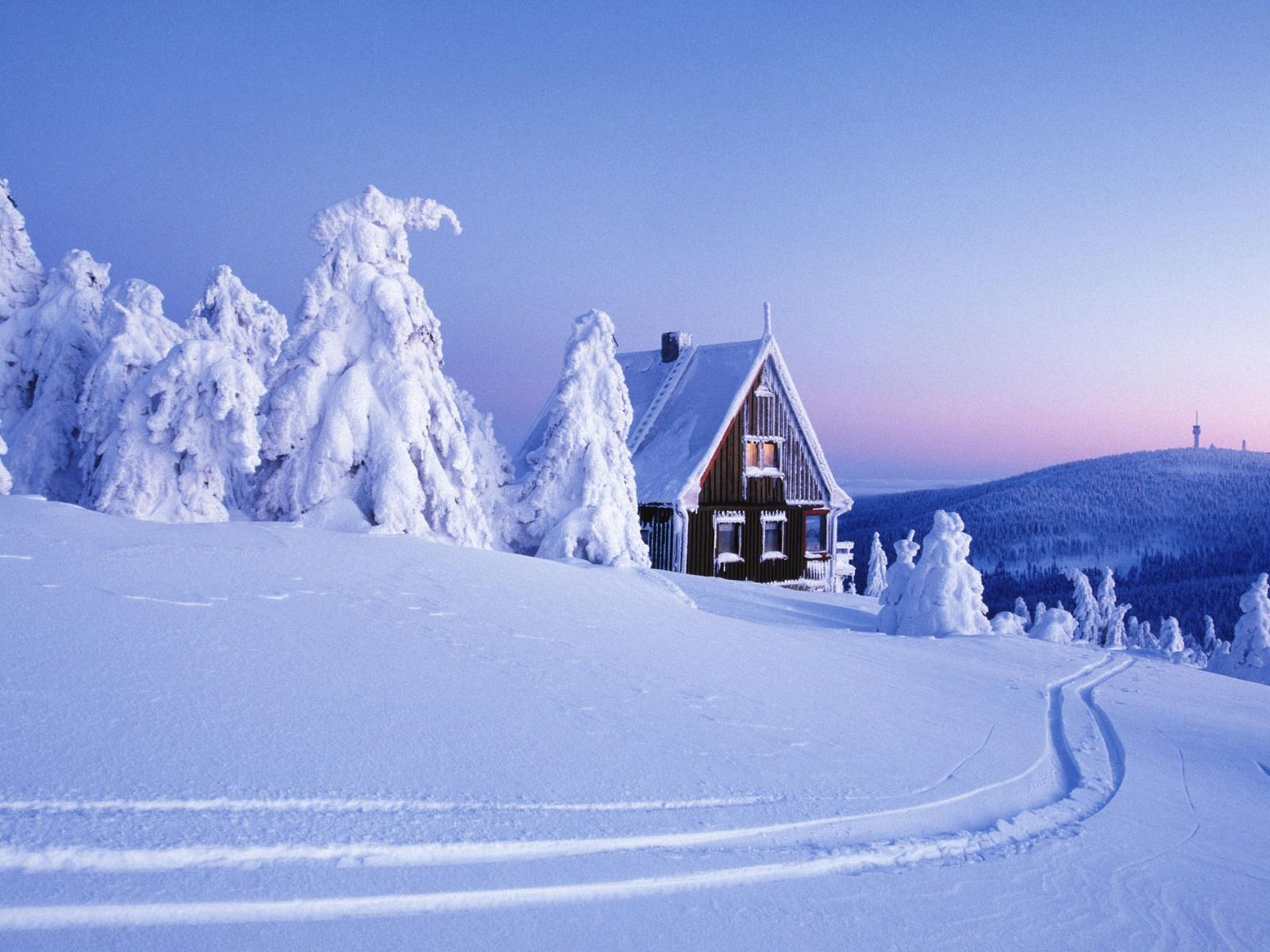 Christmas Winter Scene Log Cabin Deep Snow Winter Scenes - Christmas cabin fireplace scenes