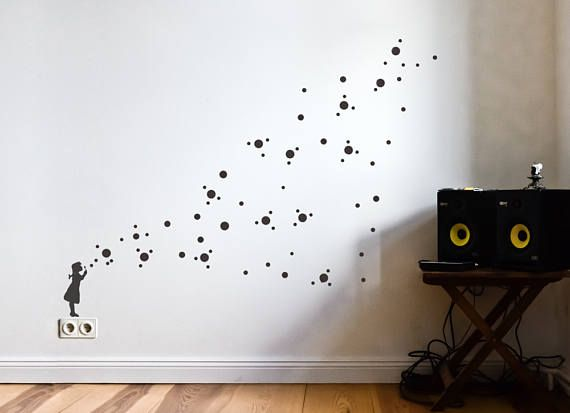 soap bubble girl wall decal diy | dots decals, soap bubbles, banksy