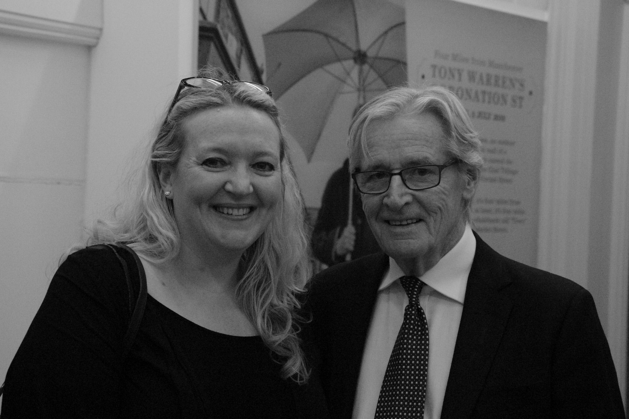 https://flic.kr/p/211yTKX | Ann-Marie Humphreys with  William Roache at the opening of Four Miles from Manchester; Tony Warren's Coronation Street exhibition at Salford Museum & Art Gallery. | taken at the opening of Four Miles from Manchester; Tony Warren's Coronation Street exhibition at Salford Museum & Art Gallery