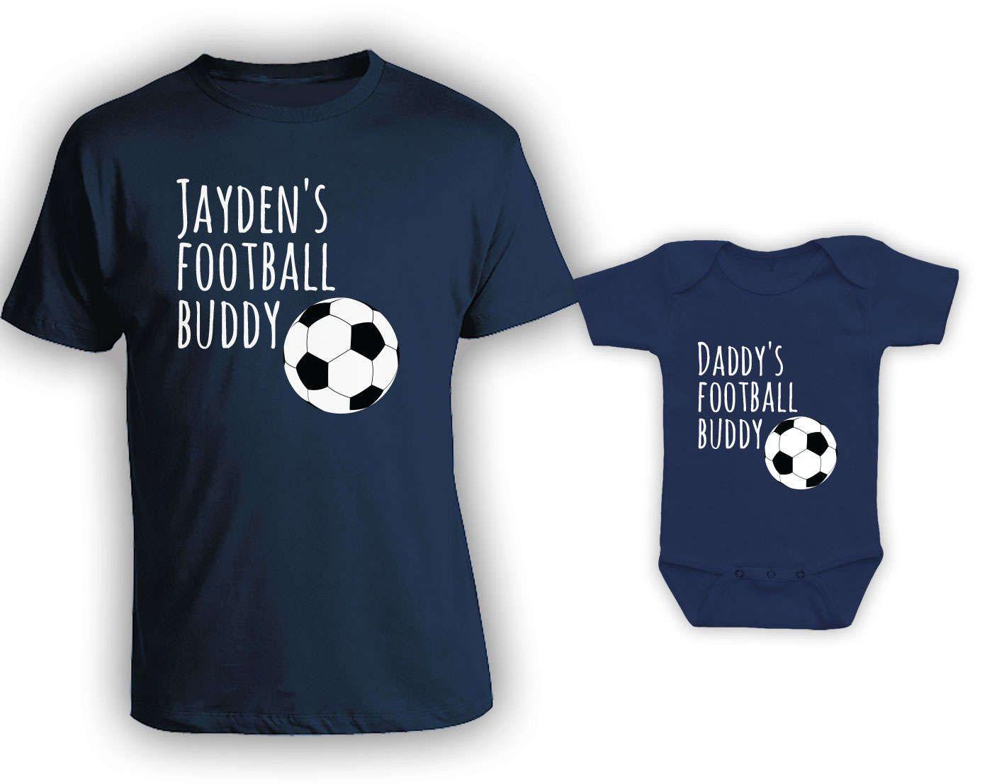 Football buddies matching tshirt set matching father son