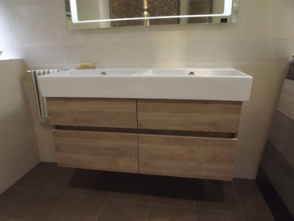 Catalano 1200mm Double Bowl Basin Sink Wood Effect Drawer Vanity Unit Basin Sink Vanity Units