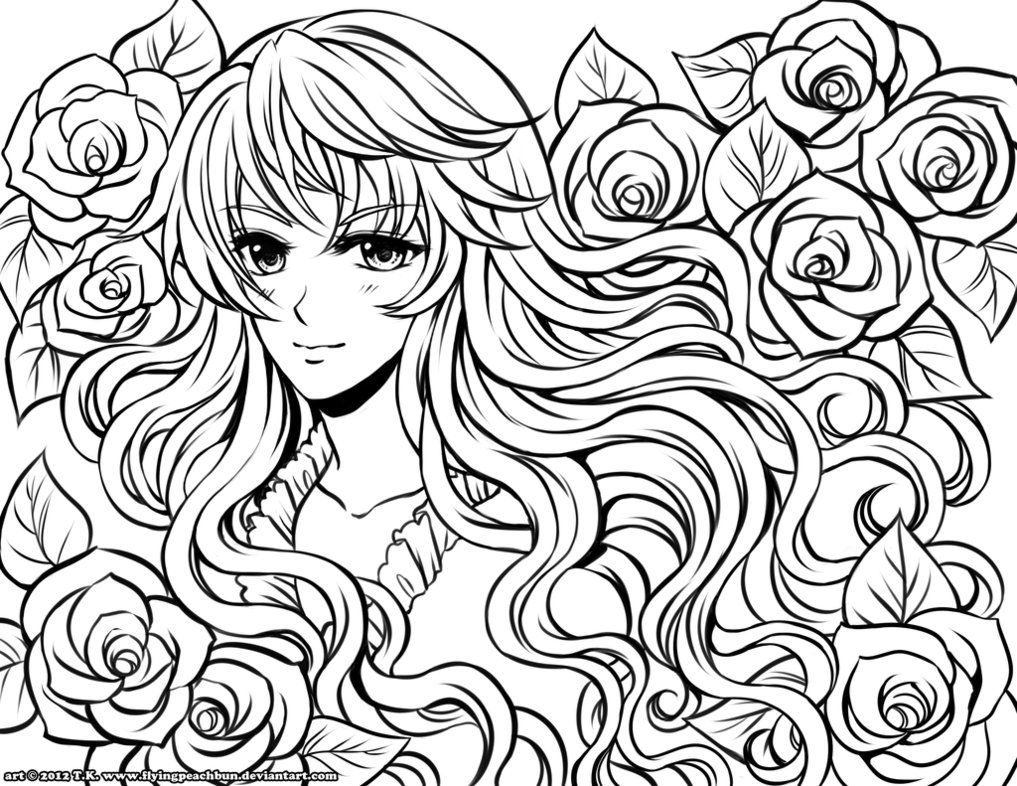 Anime Girl Coloring Pages Pictures Color Pages Pinterest