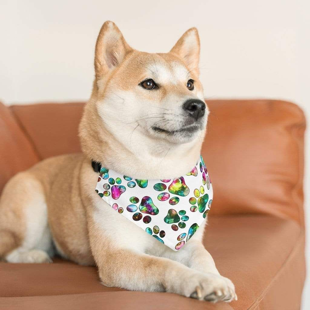 Photo of Angel Paws Fine Art Pet Bandana Collar(White) – L