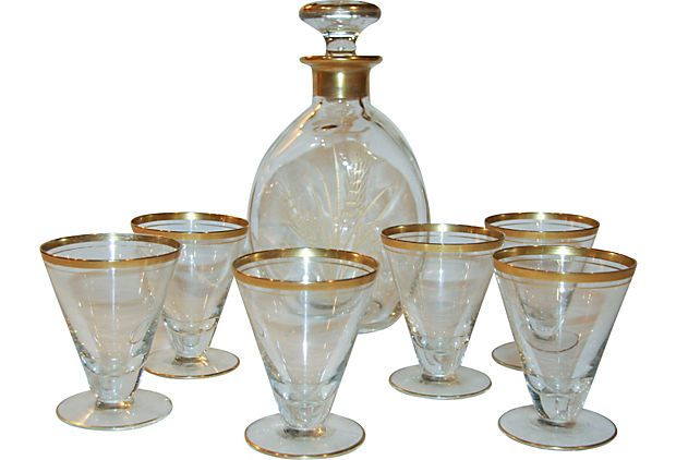"""Gold-Trimmed Decanter & 6 Glasses - 5""""W x 9""""H - to place on top of Dining Room Server on a tray"""