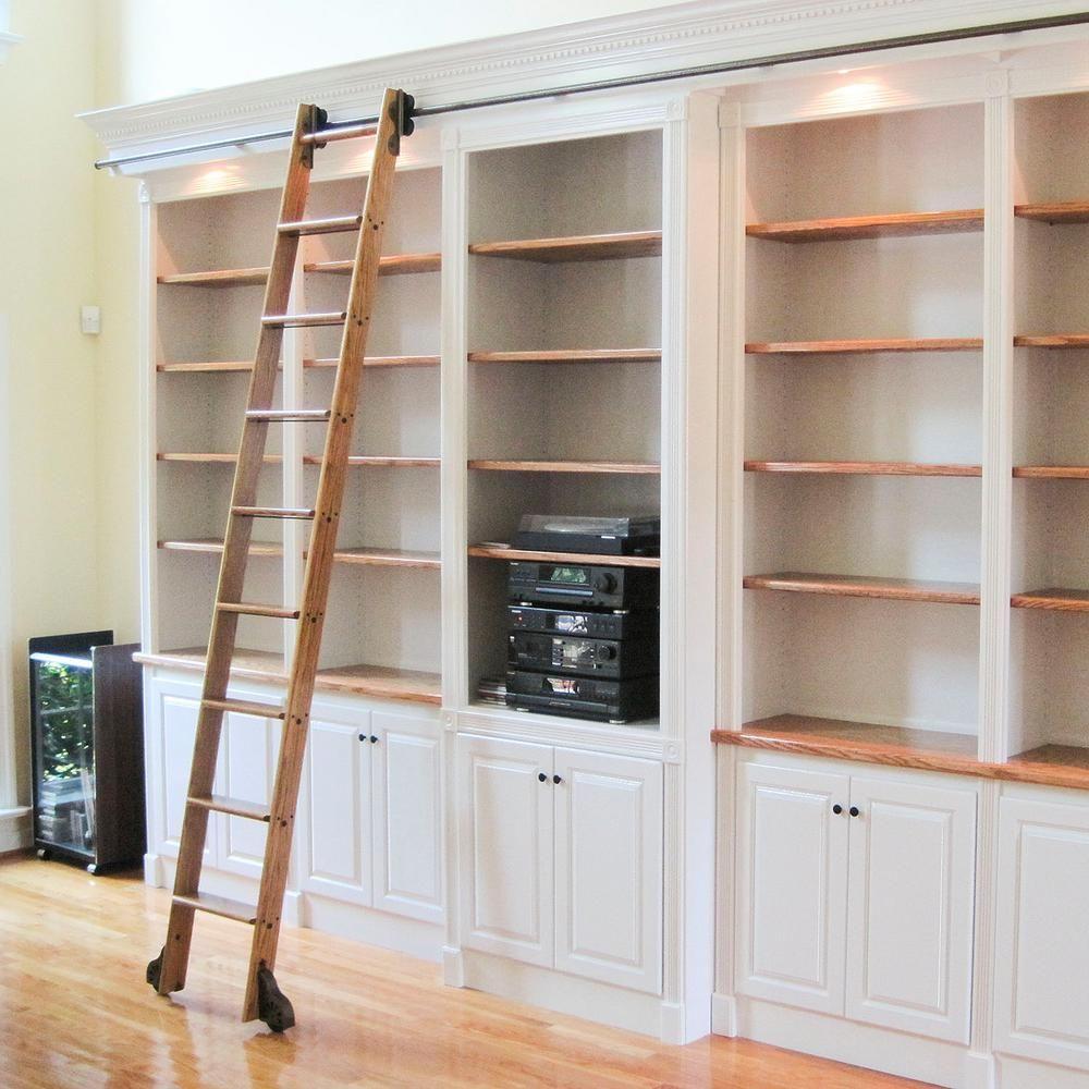 Best Quiet Glide 9 Ft Red Oak Library Ladder 10 Ft Reach 400 x 300