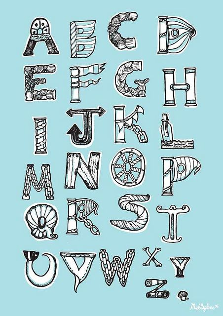Nautical Lettering Alphabet By Mel Chadwick