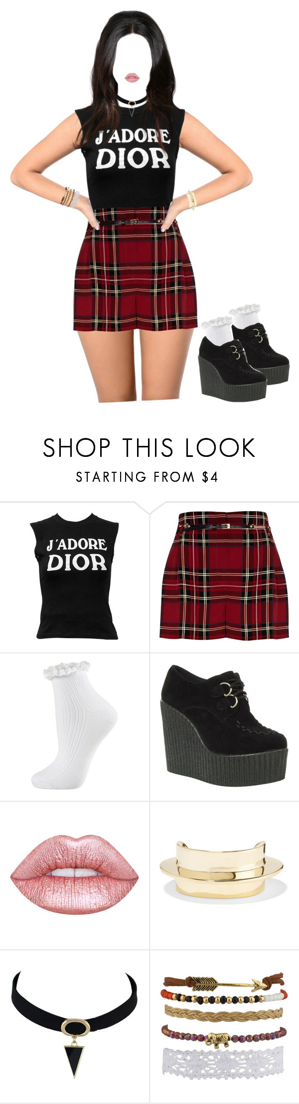 """Untitled #200"" by missprettyyoungthing95 ❤ liked on Polyvore featuring Christian Dior, River Island, Topshop, Truffle, Dreamgirl, Lime Crime and Lisa Eisner"