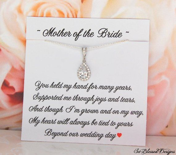 Mother of the Bride Gift Mother of the Groom gift Silver CZ Necklace Jewelry Mothers Wedding Jewe  sc 1 st  Pinterest & Mother of the Bride Gift Mother of the Groom gift Silver CZ ...