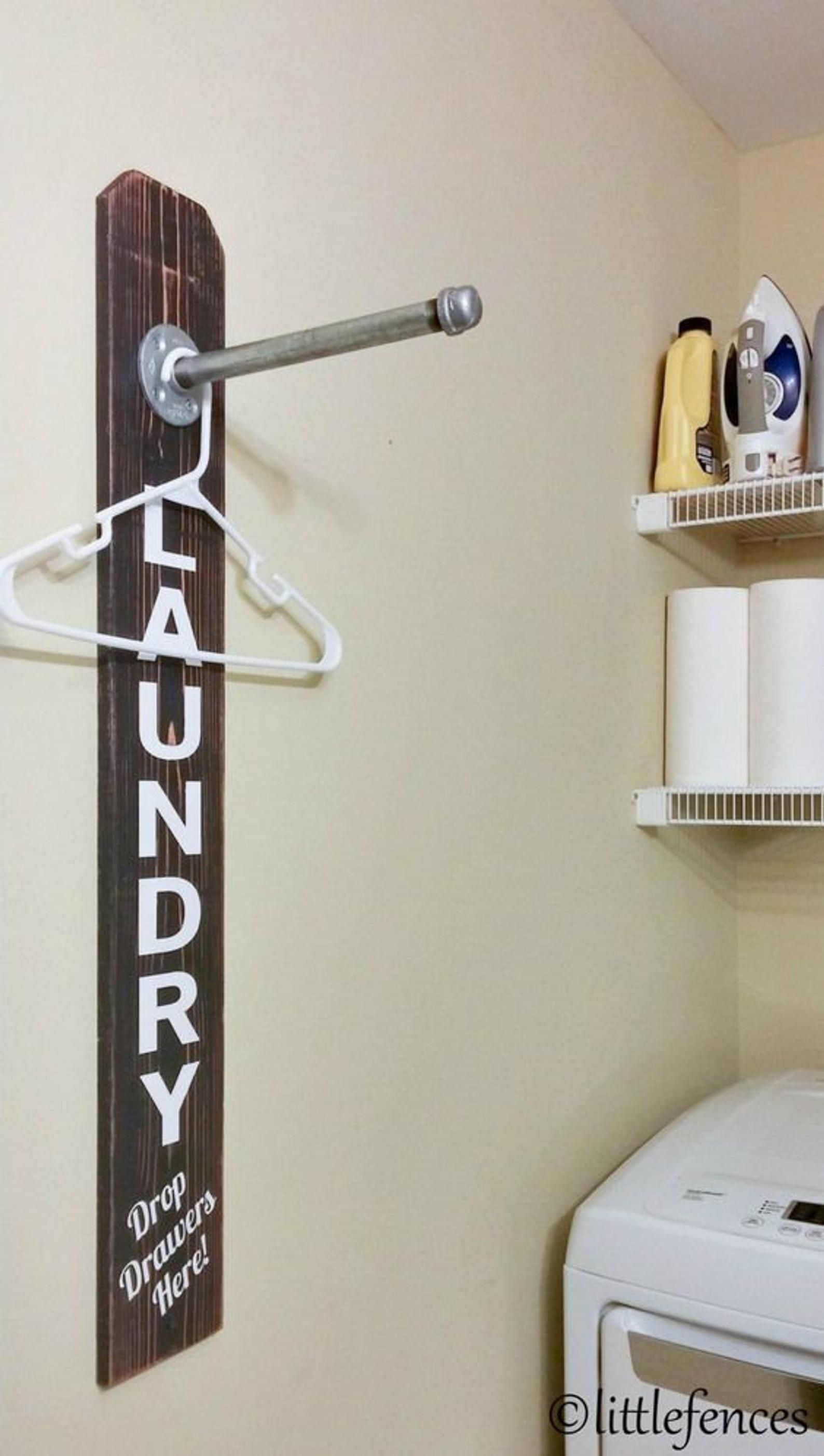 Photo of Laundry Room Sign   Laundry Room Organization   Clothing Rack   Wood Laundry Sign   Pipe Rack   Clothes Hanger   Rustic Custom Laundry Sign