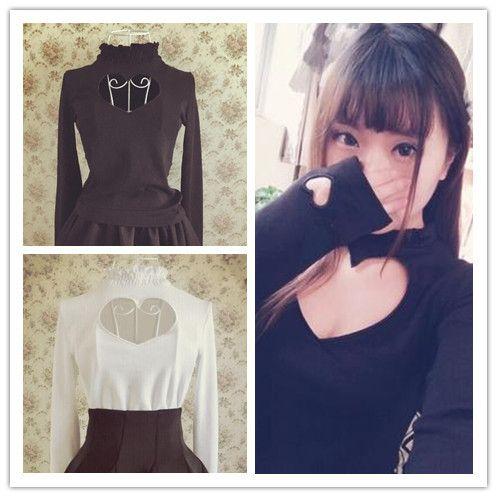 f6c853e3b81 S M Black White Japanese Open Chest Heart Out Long Sleeve Shirt SP152256