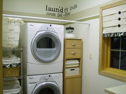 """the saying stenciled on the hamper- """"Wash, Dry, Fold, Dance"""". Love it."""