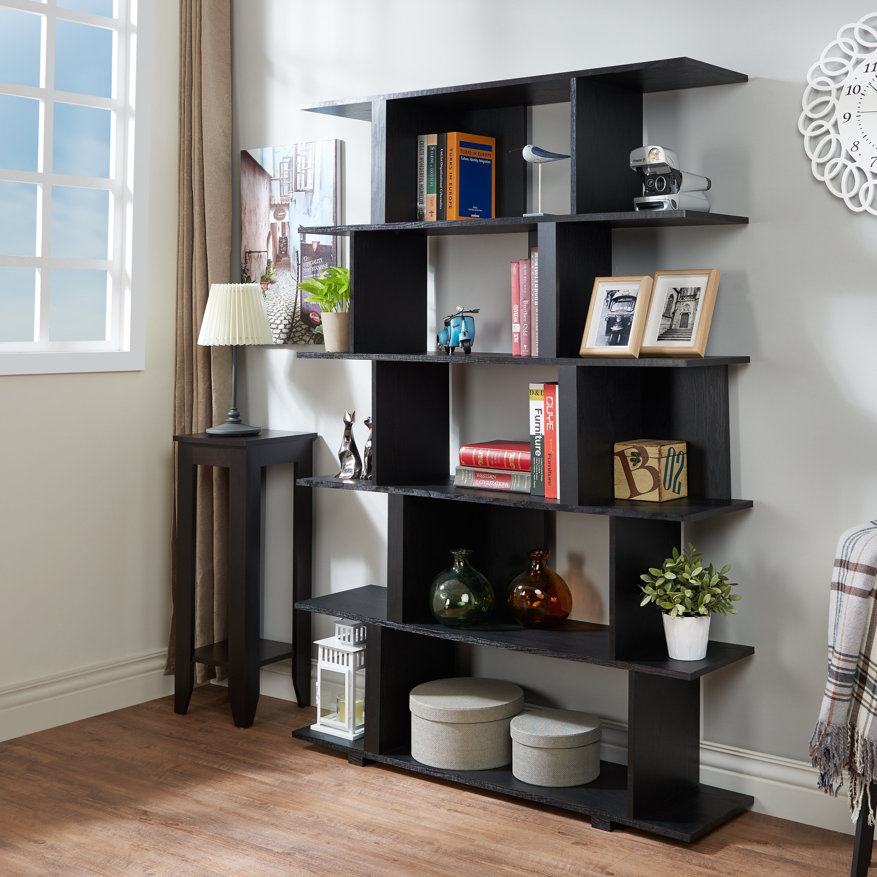 Silla Modern Multi Shelf Open Back Display Case