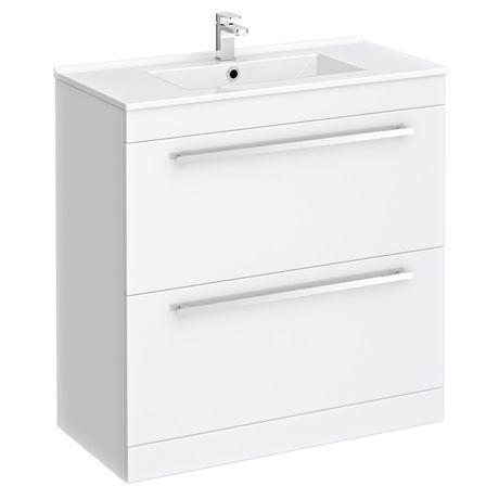 Nova High Gloss White Floor Standing Basin Unit W800 X D400mm