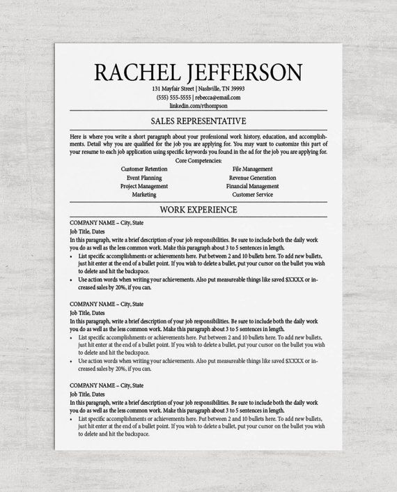Professional Resume Template, Classic Resume Template, Cover - professional resume in word format
