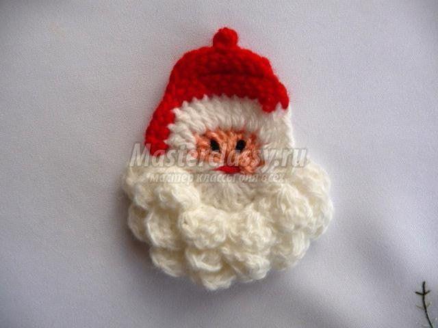 Вязаные елочные игрушки крючком. Дед Мороз и елочка ...