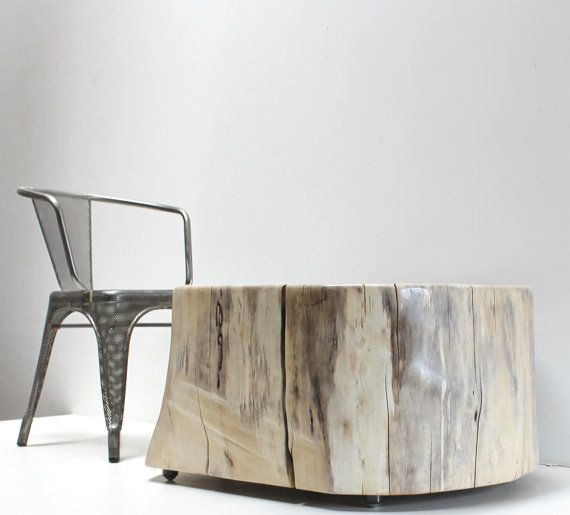 Tree Stump Coffee Table Grey Blonde By Realwoodworks1 On Etsy